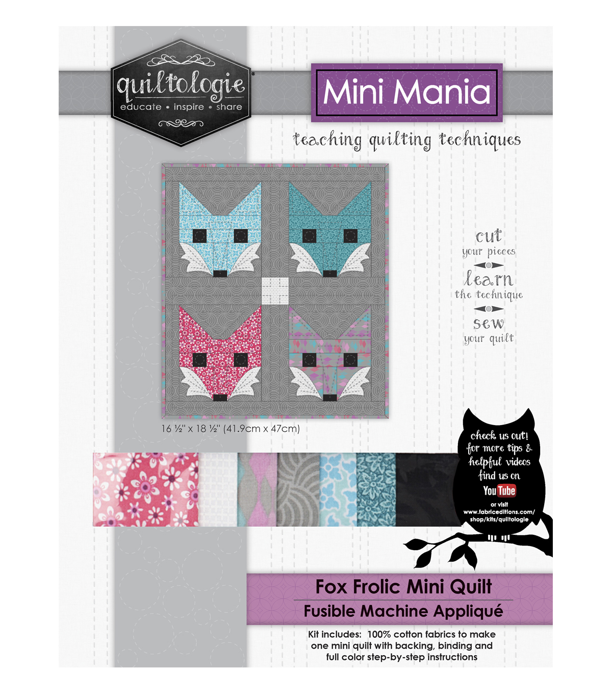 "Quiltologie Mini Mania Quilt Kit 16 1/2""x18 1/2""-Fox Frolic"