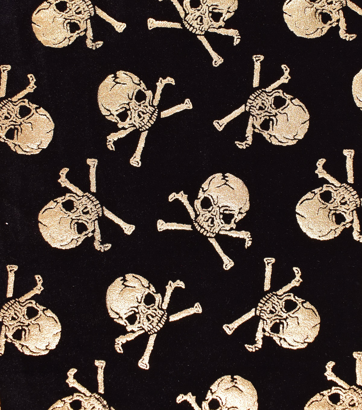The Witching Hour Halloween Velvet Fabric 58\u0022-Metallic Skulls