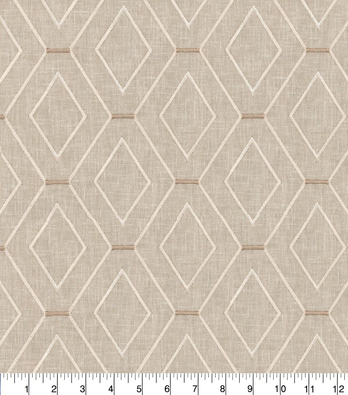 Waverly Upholstery Fabric 54''-Linen Diamond Duo