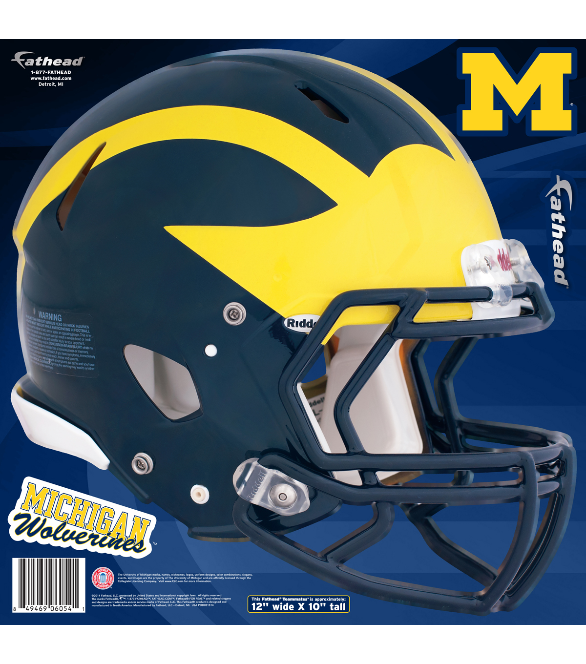 University of Michigan Wolverines Fat Head Wall Decal-Helmet