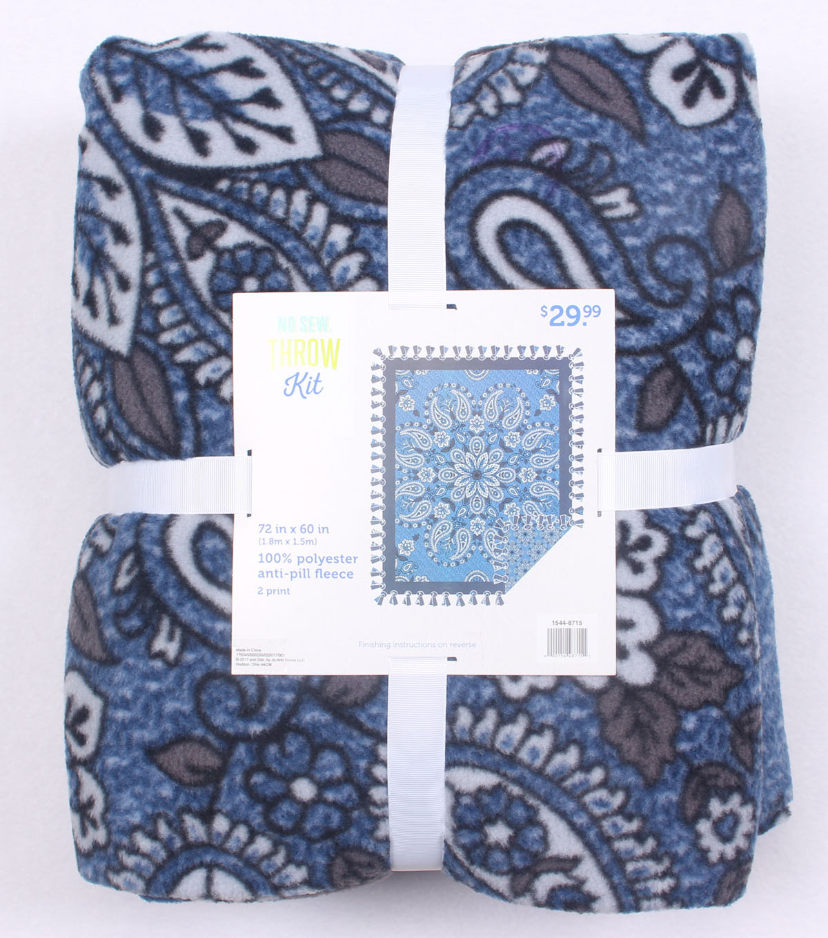 "No Sew Fleece Throw 72""-Denim Paisley"