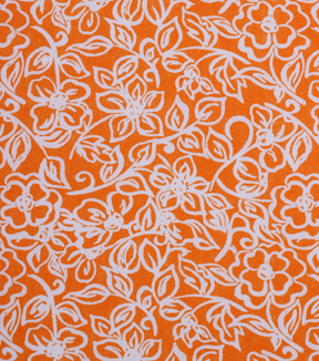 1930's Cotton Fabric 43''-Floral Outlines on Orange