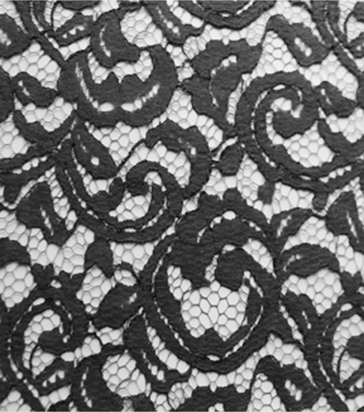 Casa Collection Floral Scroll Lace Fabric-Steel Gray