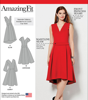 Simplicity Patterns Us1011Aa-Simplicity Misses And Plus Size Amazing Fit Dress-10-12-14-16-18