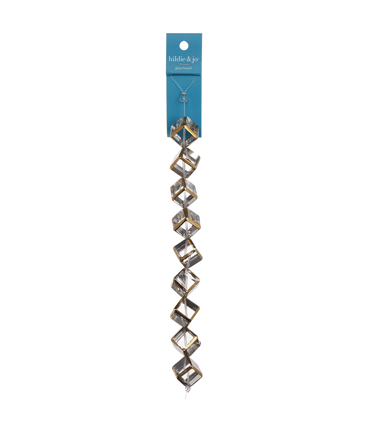 Blue Moon Beads Strand 7\u0022 Glass Cube, Clear with Gold