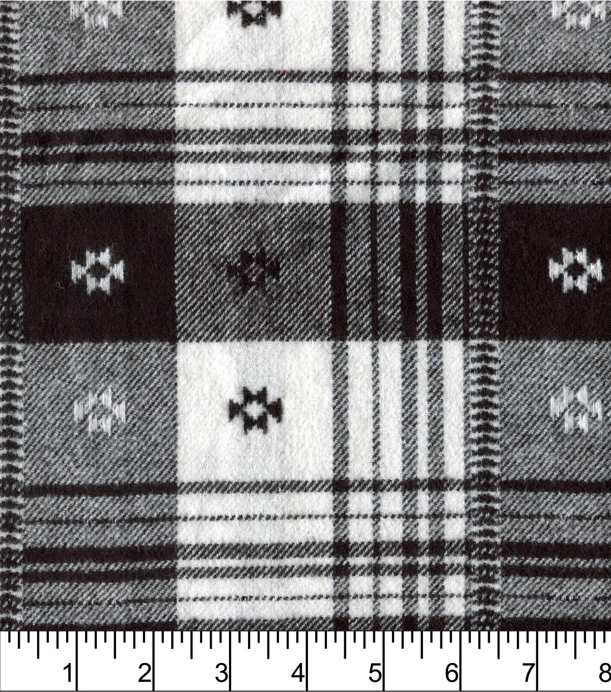 Plaiditudes Brushed Cotton Fabric 44\u0022-Southwest Black White