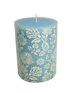 Wild Blooms 3''x4'' Debossed Pillar Candle-Blue & White Floral
