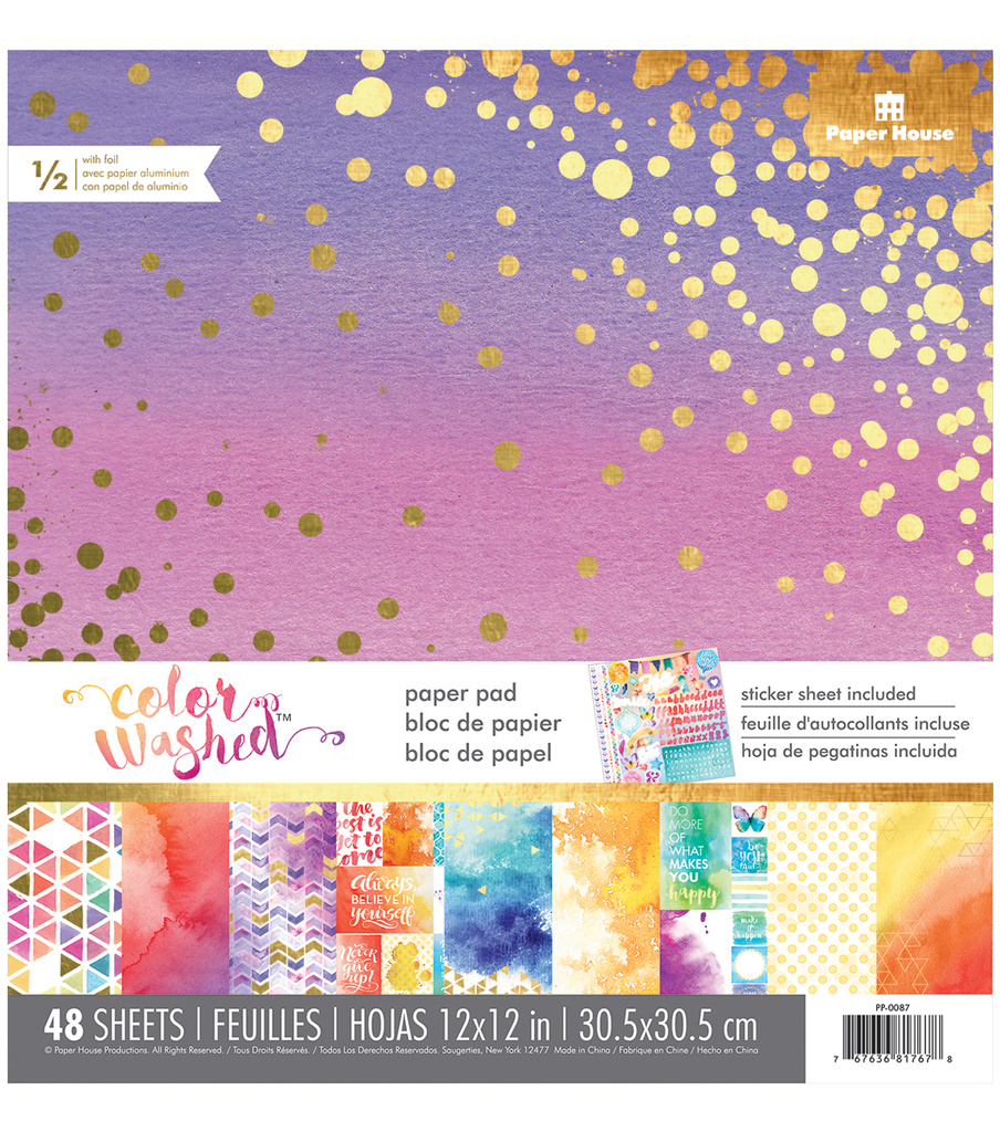 Paper House® Color Washed Pack of 48 12''x12'' Paper Pad