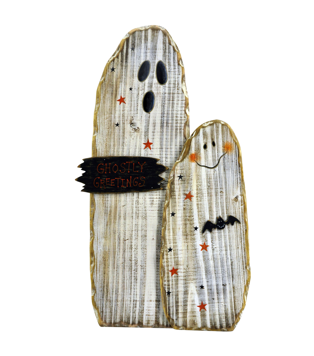 Maker\u0027s Halloween Wood Ghost Group Porch Sitter Sign-Ghostly Greetings