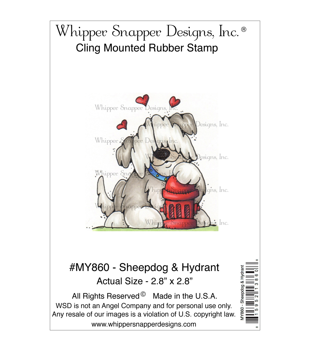 Whipper Snapper Designs Cling Stamp-Sheepdog & Hydrant