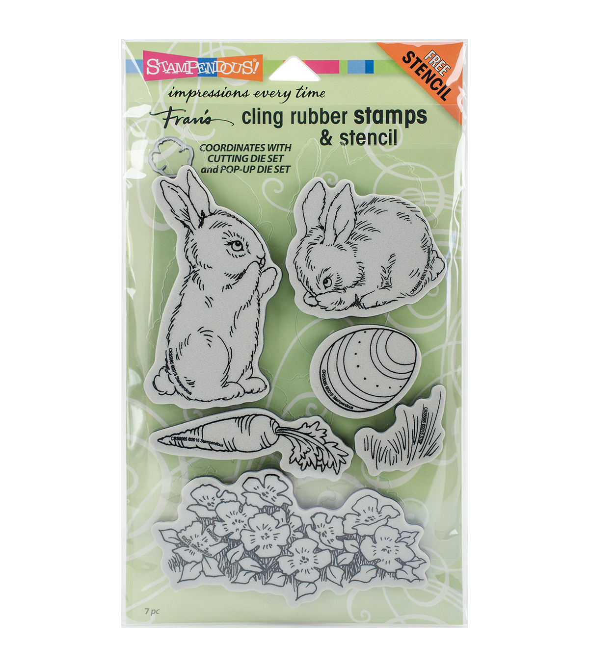 Stampendous® Cling Stamps & Stencil-Backyard Bunnies