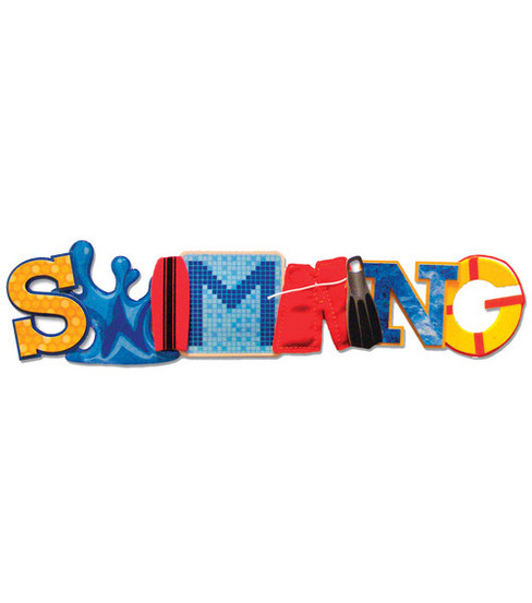 Karen Foster 3-D Title Sticker-Swimming