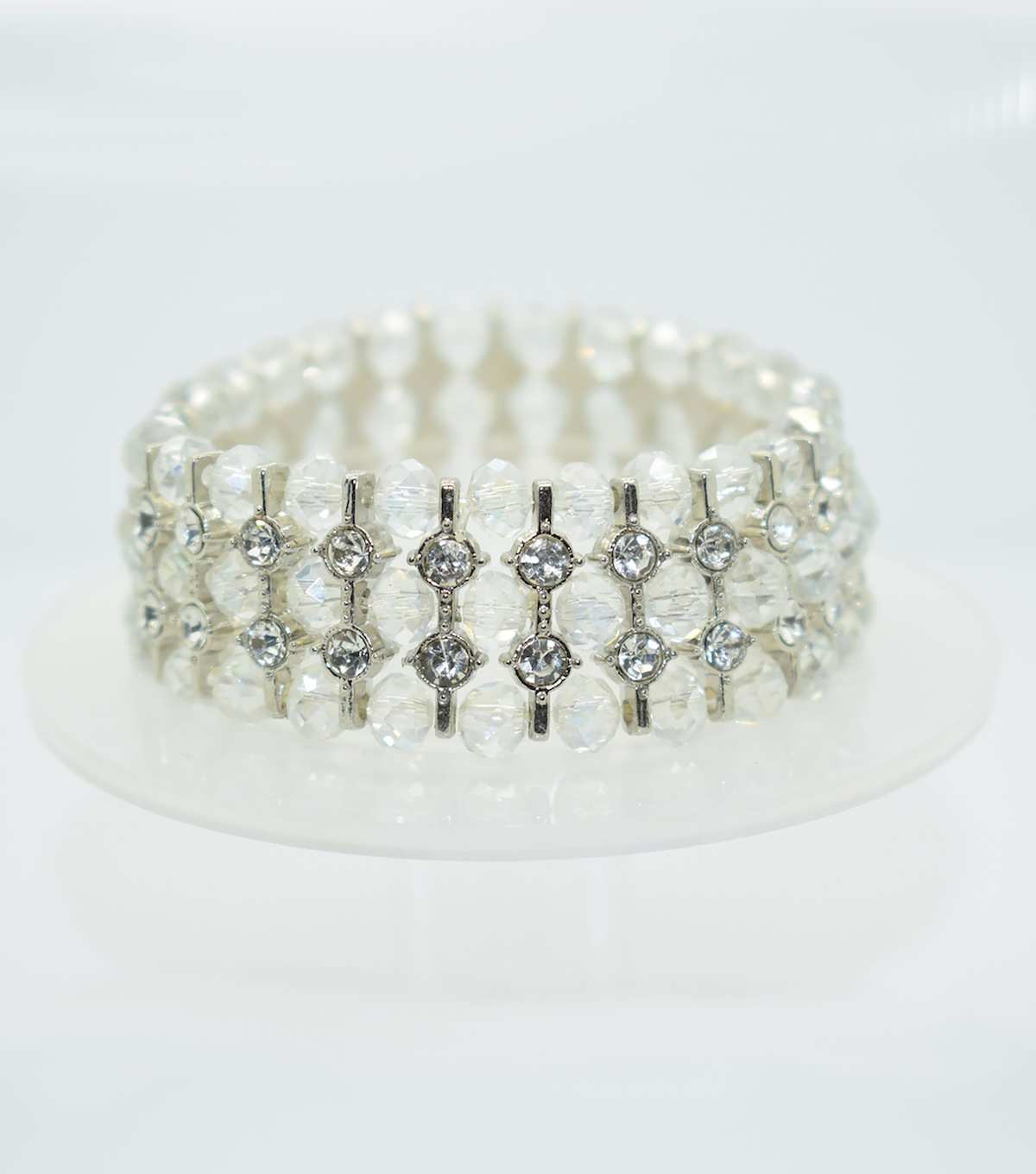 Glass Beads Spacer Bracelet-Clear Shine