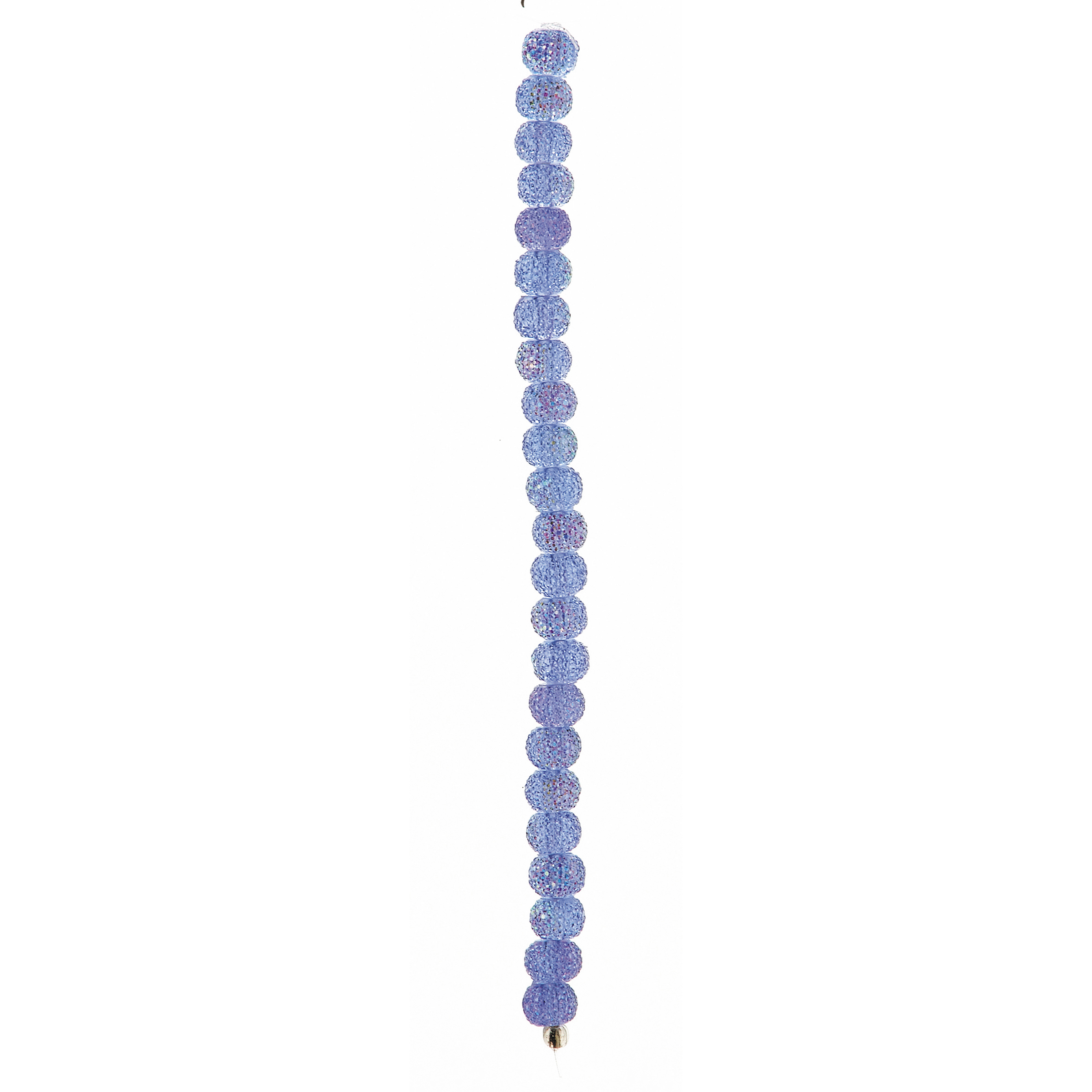 "7"" Strand Acrylic Glitter Beads, Light Sapphire, 8 x 10mm"