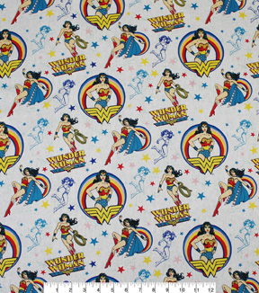 DC Comics Wonder Woman Cotton Fabric 44\u0022-Toss Sketch
