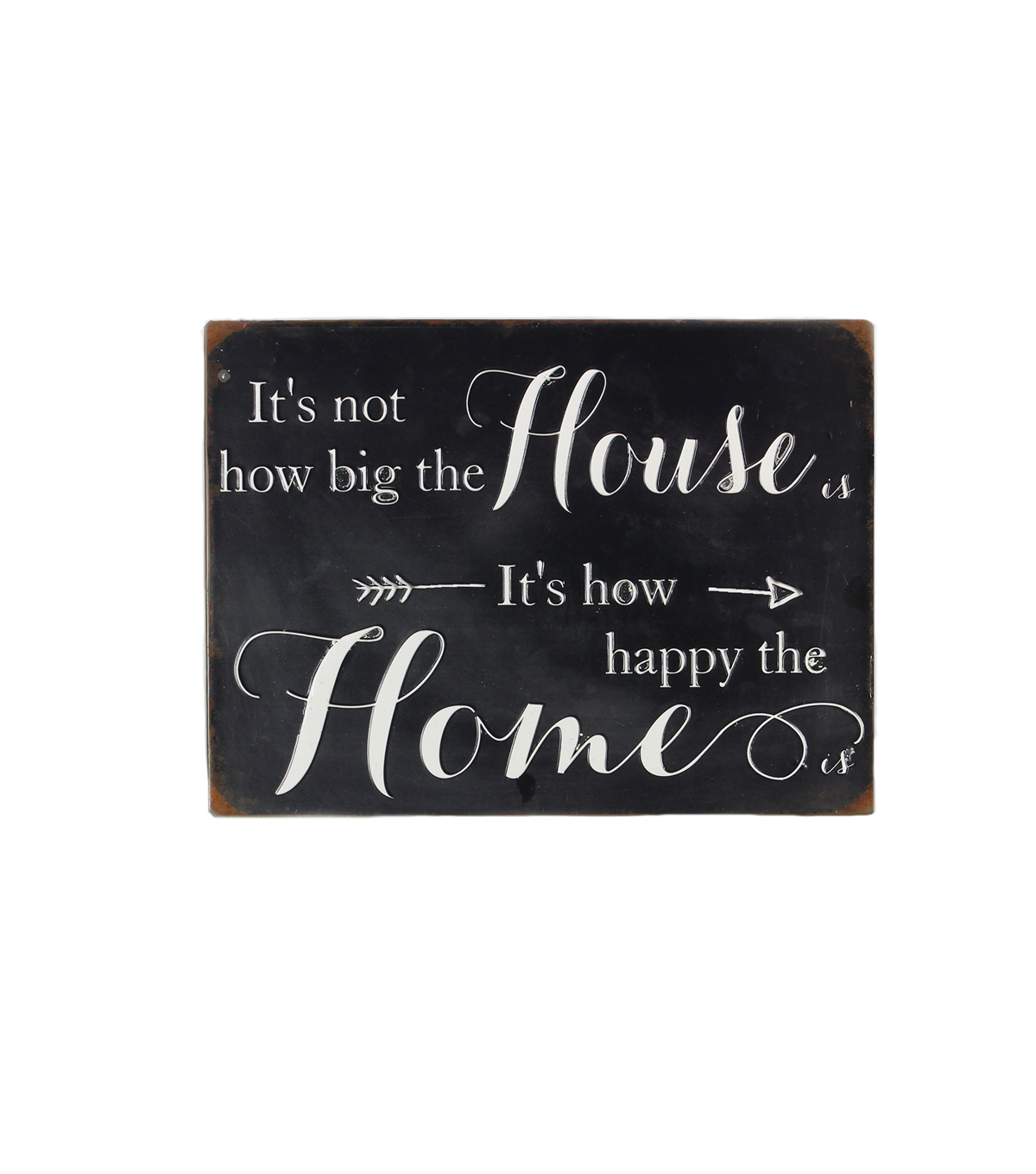 Metal Sign 13.75''x10.25''-Black with White House Home