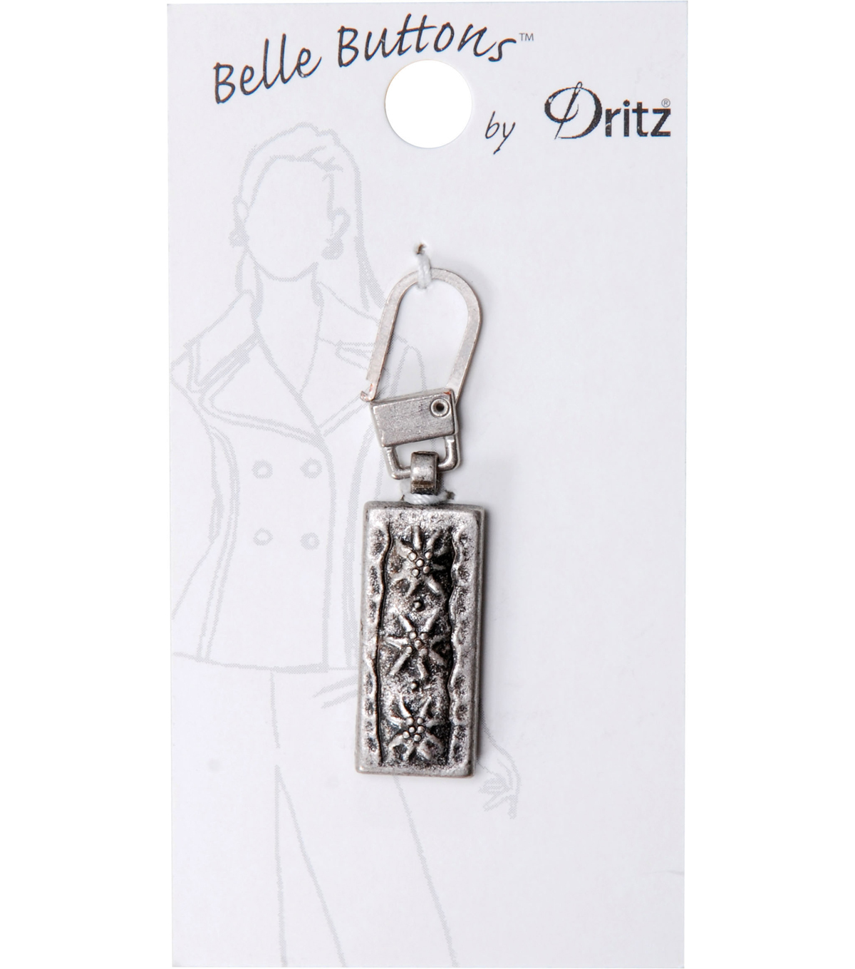 Dritz Belle Button Zipper Pull Rectangle Silver