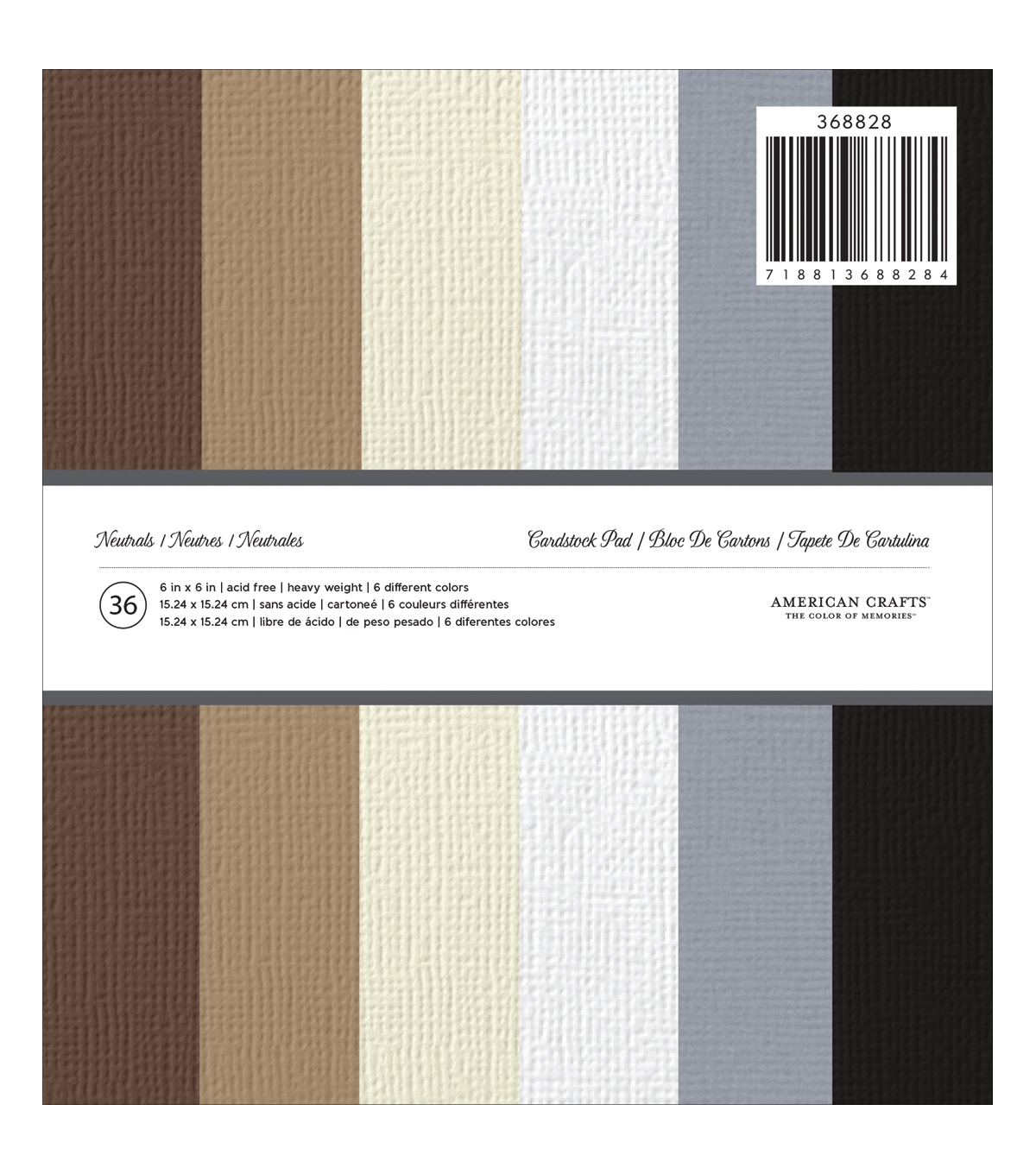 "American Crafts Solid Cardstock Pad 6""X6"" 36/Pkg-Neutrals"
