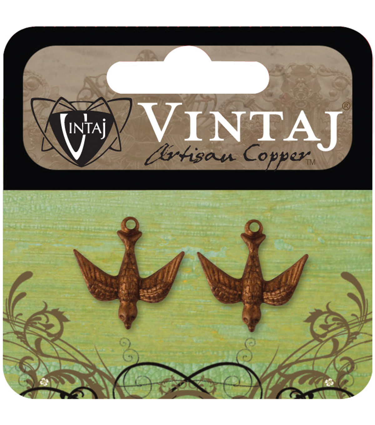 Vintaj Metal Accent 2/Pkg-Watchful Bird 17x16.5mm