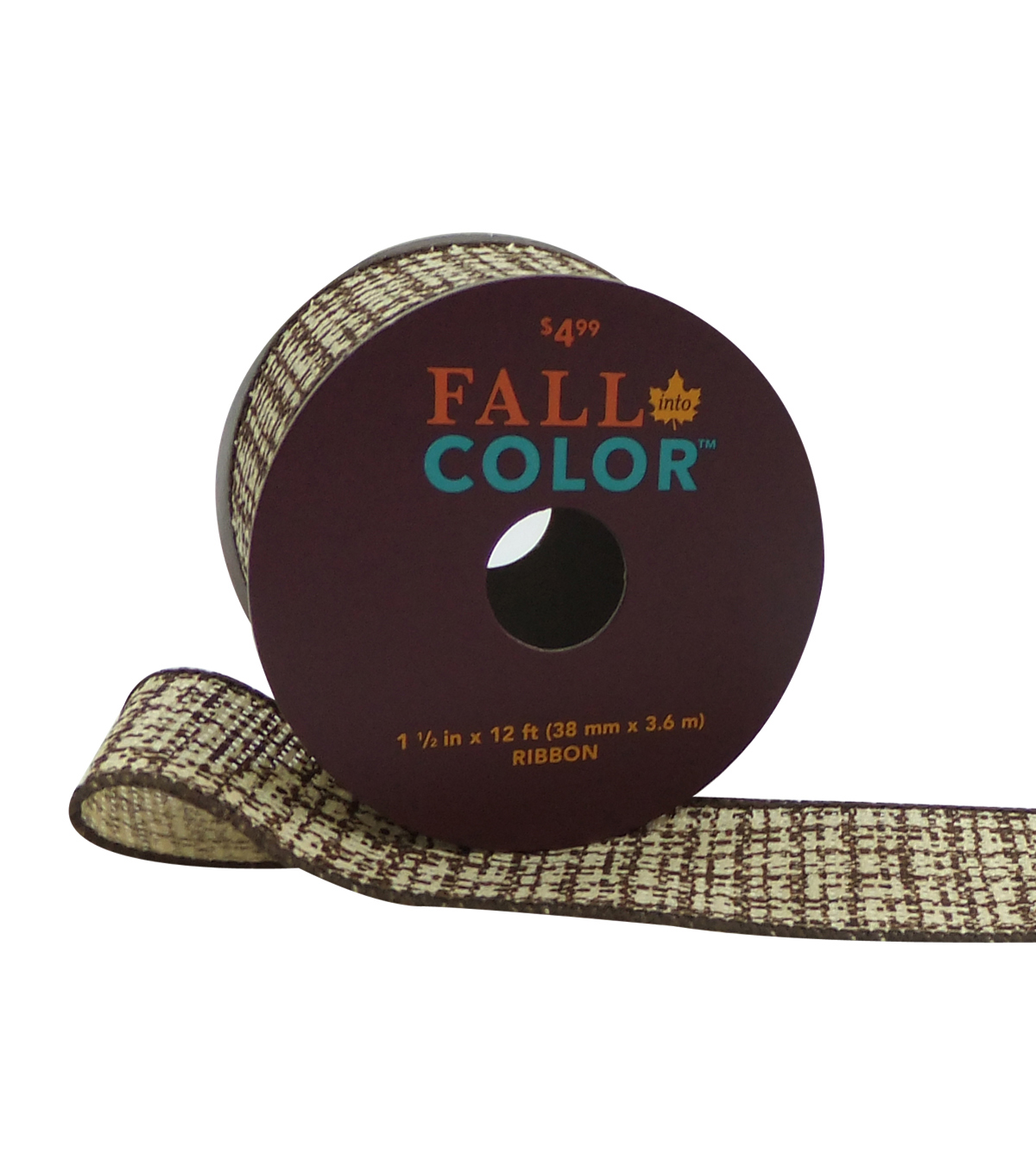 Fall Into Color Ribbon 1.5''x12'-Brown Weaving Pattern