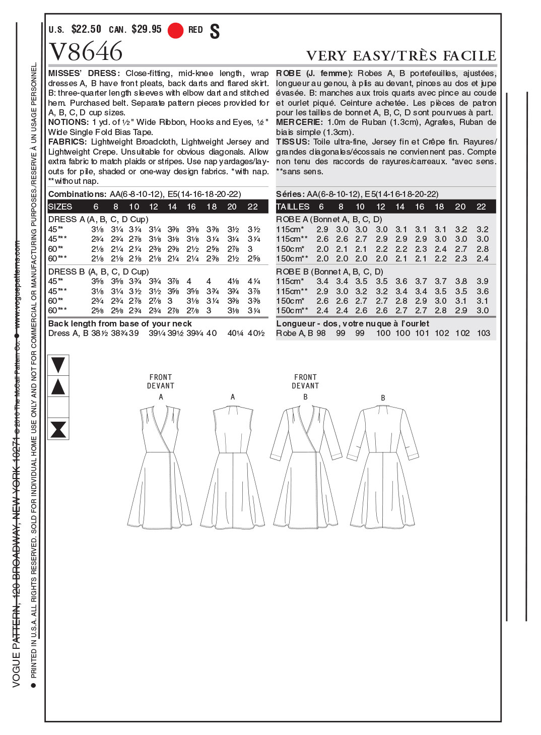 Vogue Patterns Misses Dress-V8646