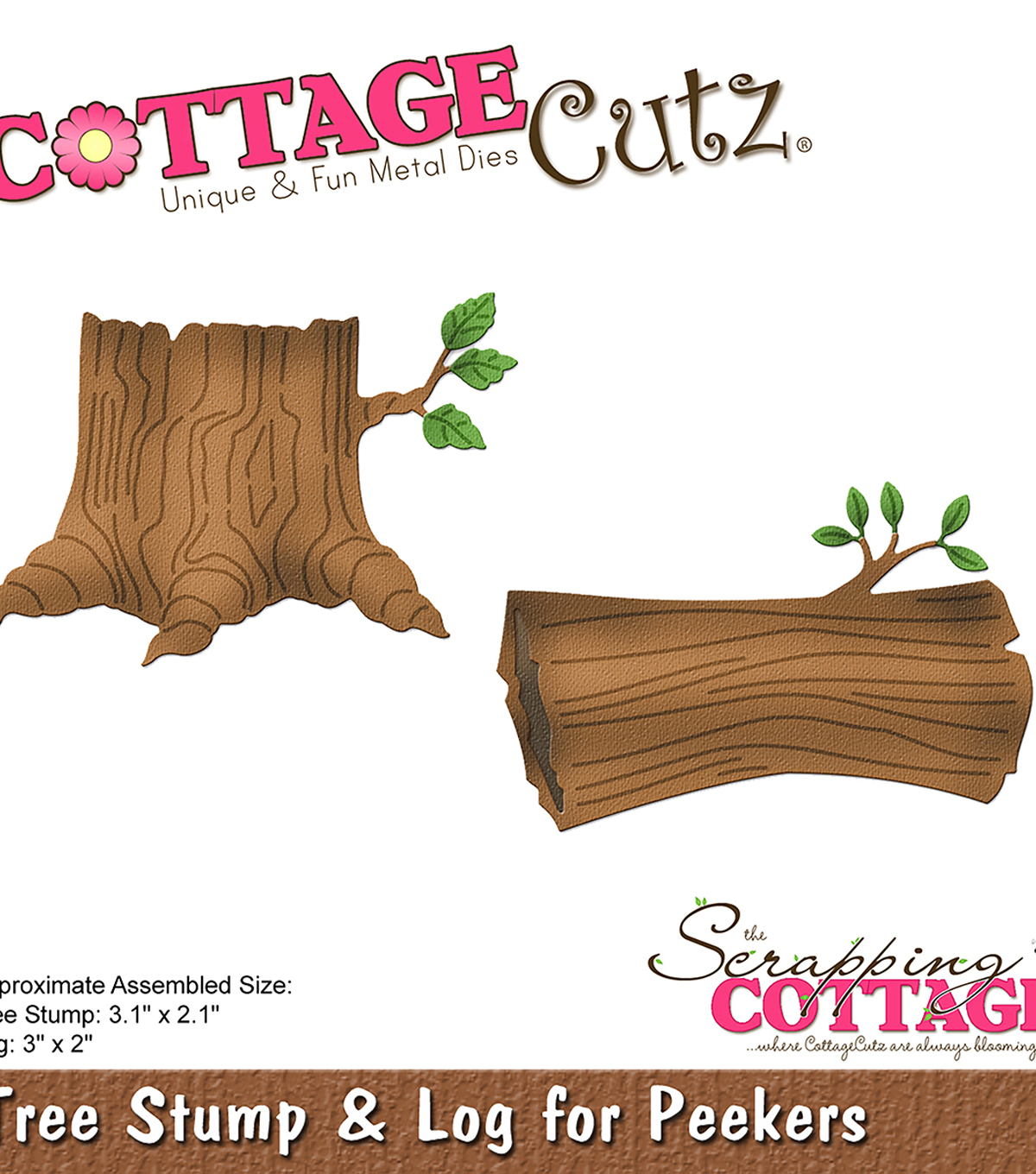 CottageCutz Die-Tree Stump & Log for Peekers 2\u0022 To 3.1\u0022