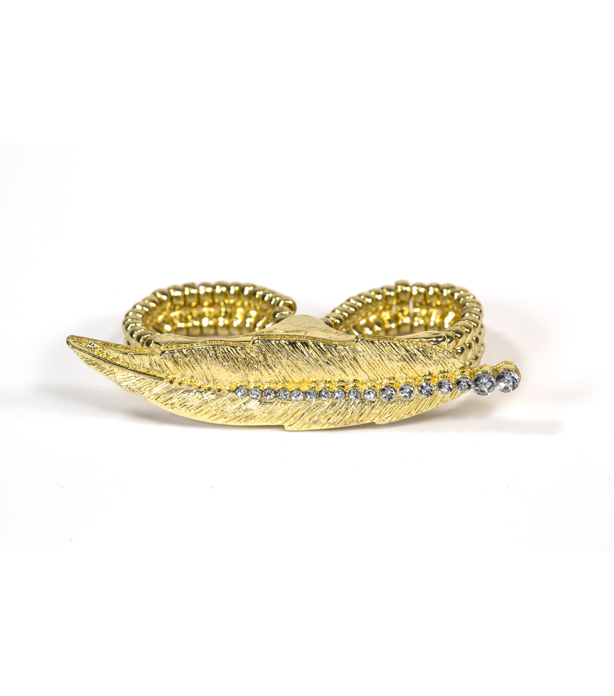 Blue Moon Jewelry Gold Feather 2-Finger Elastic Ring