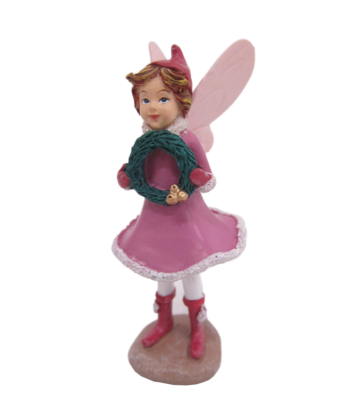 Maker\u0027s Holiday Christmas Littles Resin Fairy with Light Pink Dress