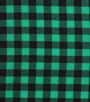 Christmas Cotton Fabric 43''-Black & Green Checked