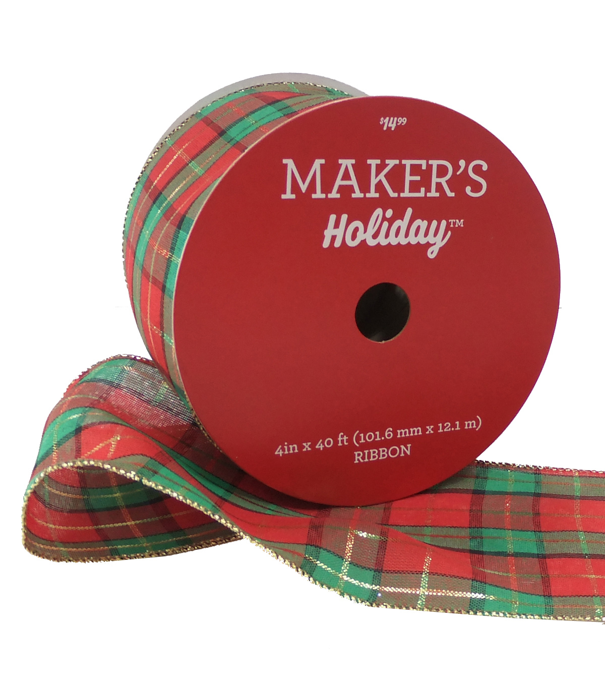 Maker's Holiday Christmas Ribbon 4''x40'-Green, Red & Gold Plaid