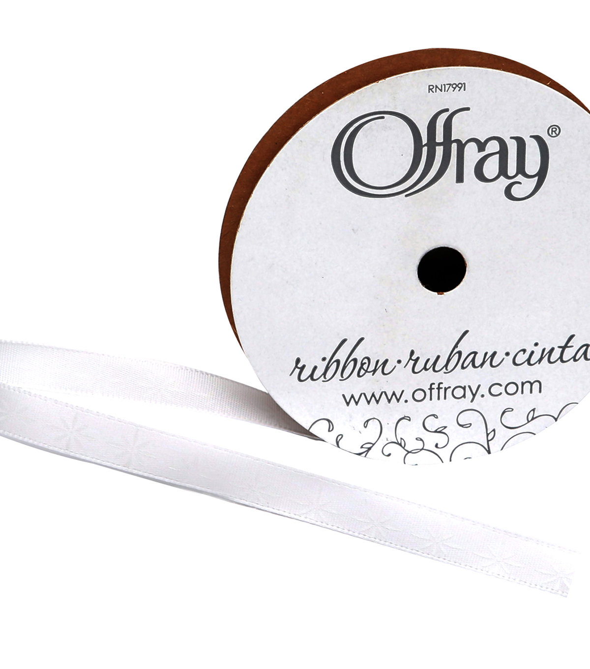 Offray 3/8\u0022x9\u0027 Shooting Stars Single Faced Satin Ribbon-White