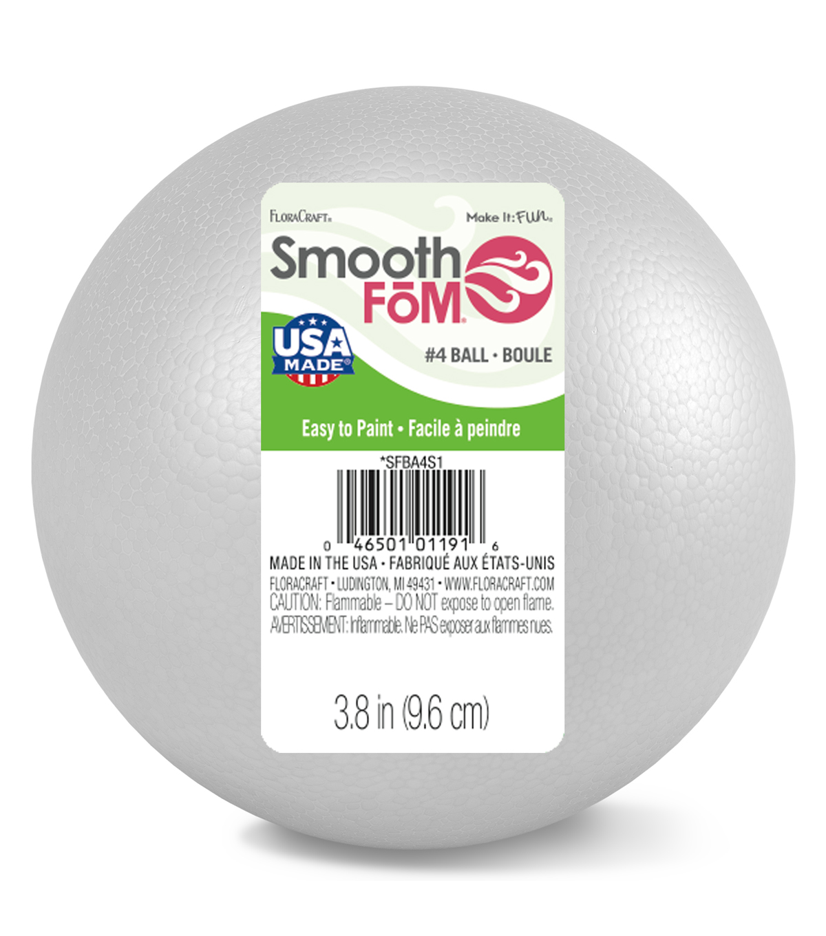 Smooth Foam 4\u0022 Ball-White