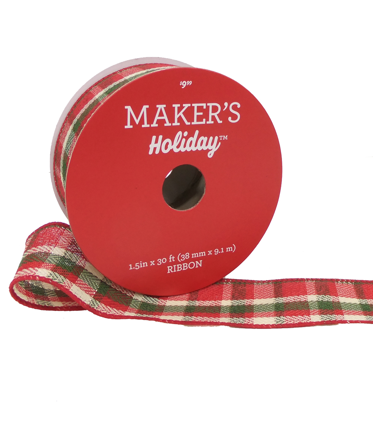 Maker's Holiday Christmas Ribbon 1.5''X30'-Beige, Green & Red Plaid