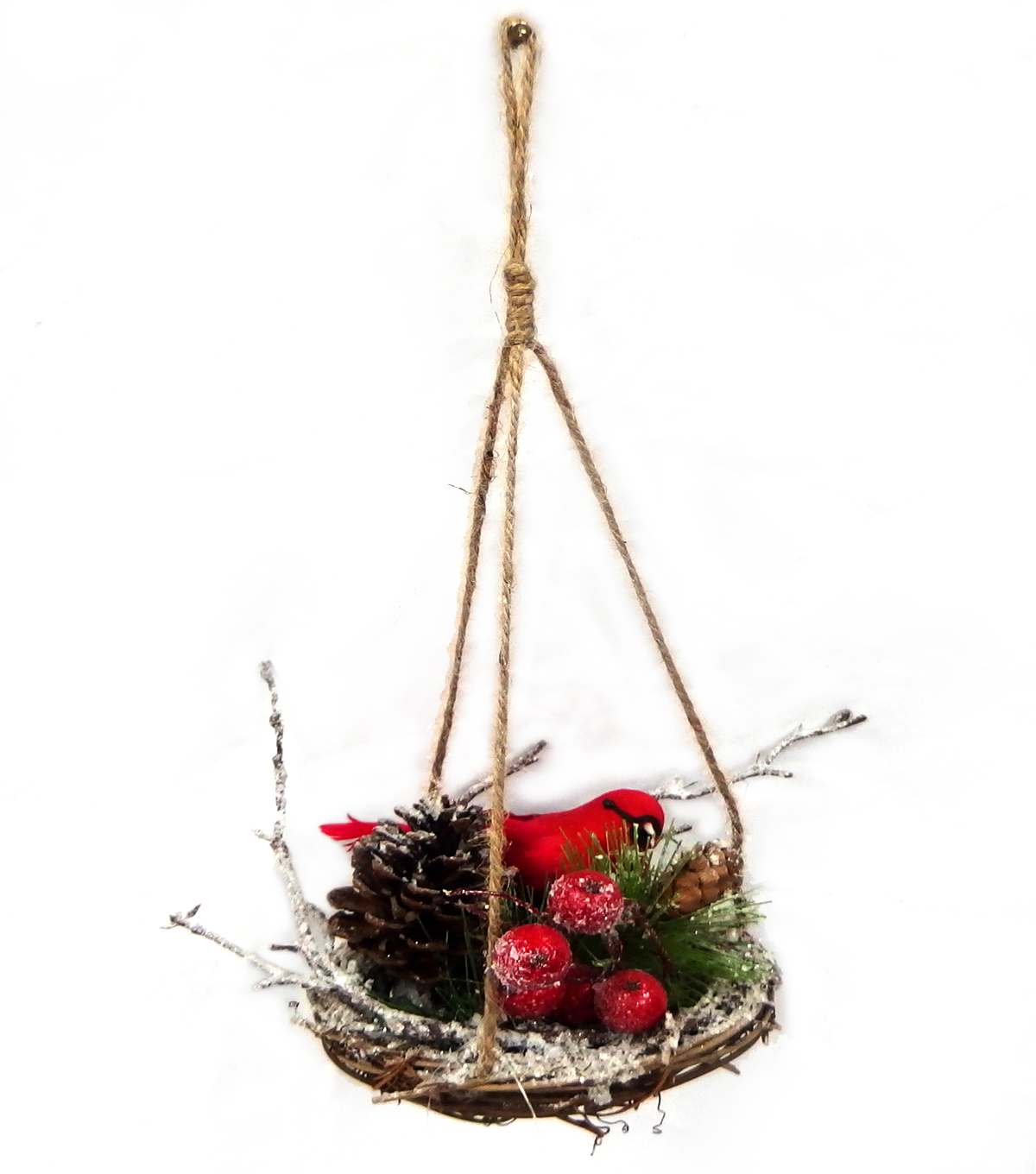 Blooming Holiday Cardinal With Pinecone And Berries In Nest