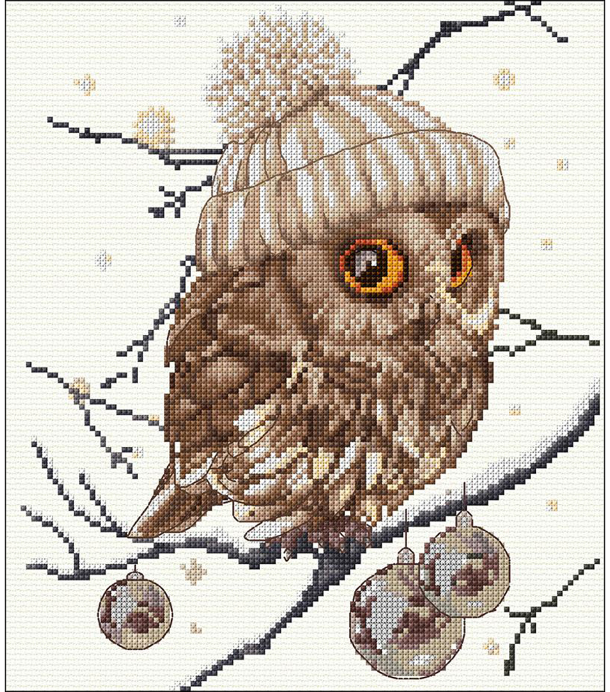Whoo...Who... It\u0027s Winter On Aida Counted Cross Stitch Kit