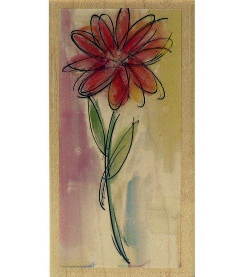 Hampton Art Rubber Stamp-Watercolor Daisy Stamp