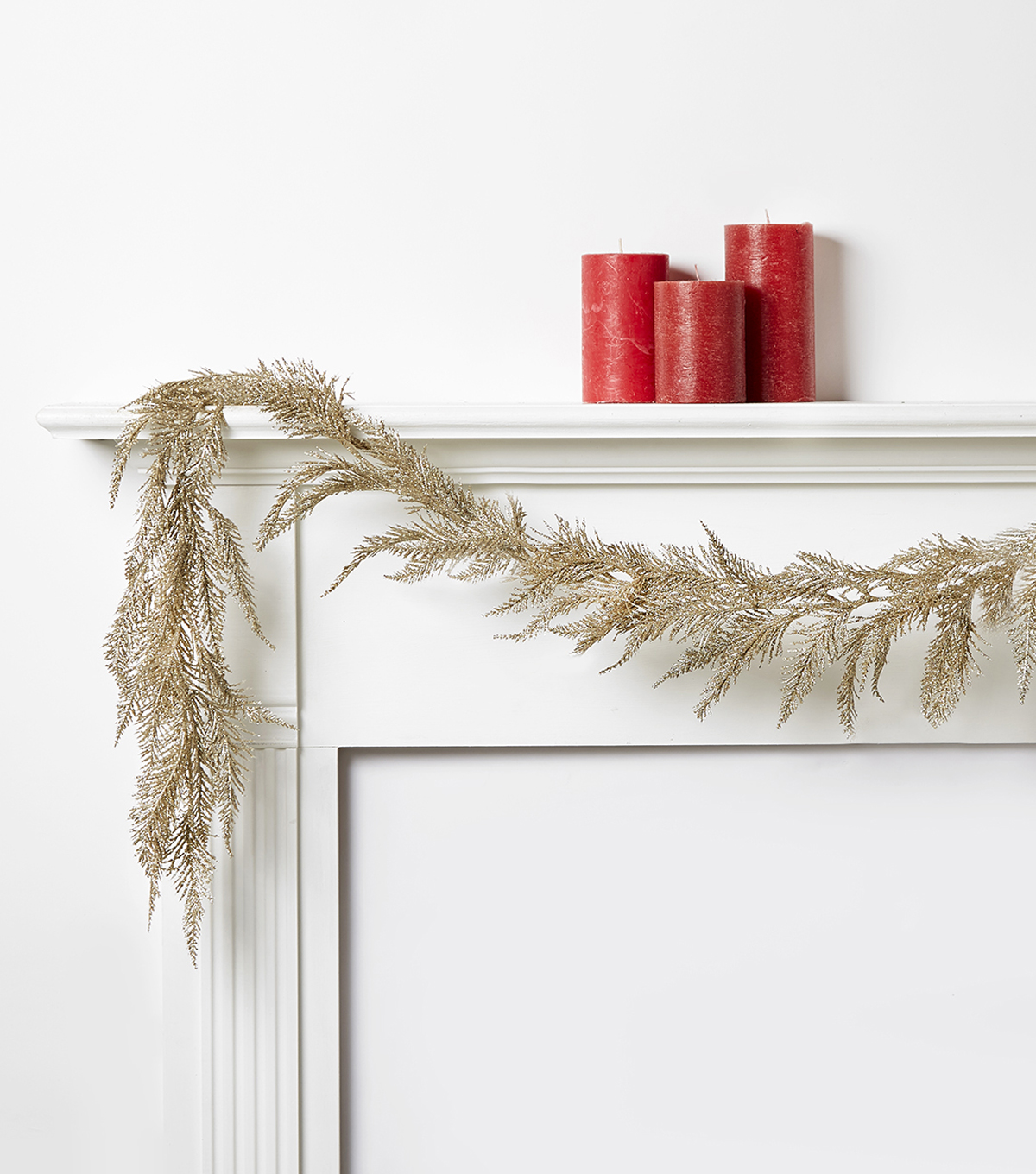 Blooming Holiday Spiked Fern Glitter Garland-Champagne