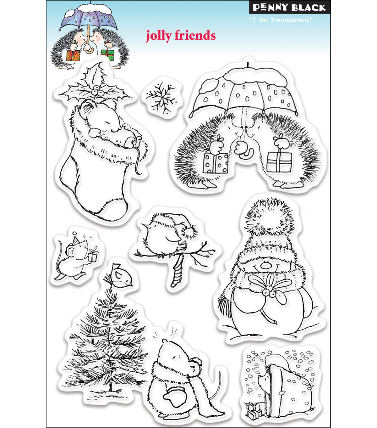 "Penny Black Clear Stamp 5""X7.5"" Sheet-Jolly Friends"