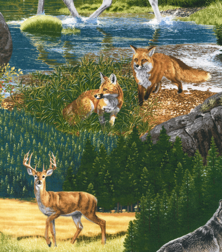 Northwoods Fabric - Wilderness Animals Cotton