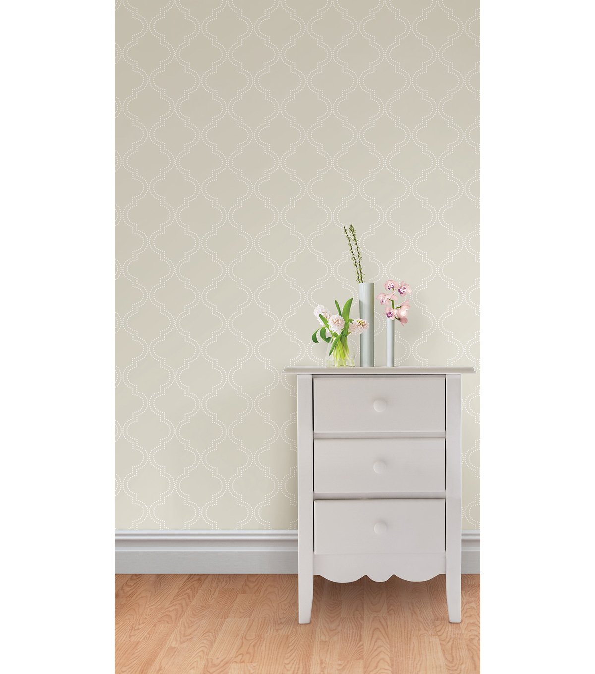 WallPops®NuWallpaper™ Taupe Quatrefoil Peel And Stick Wallpaper