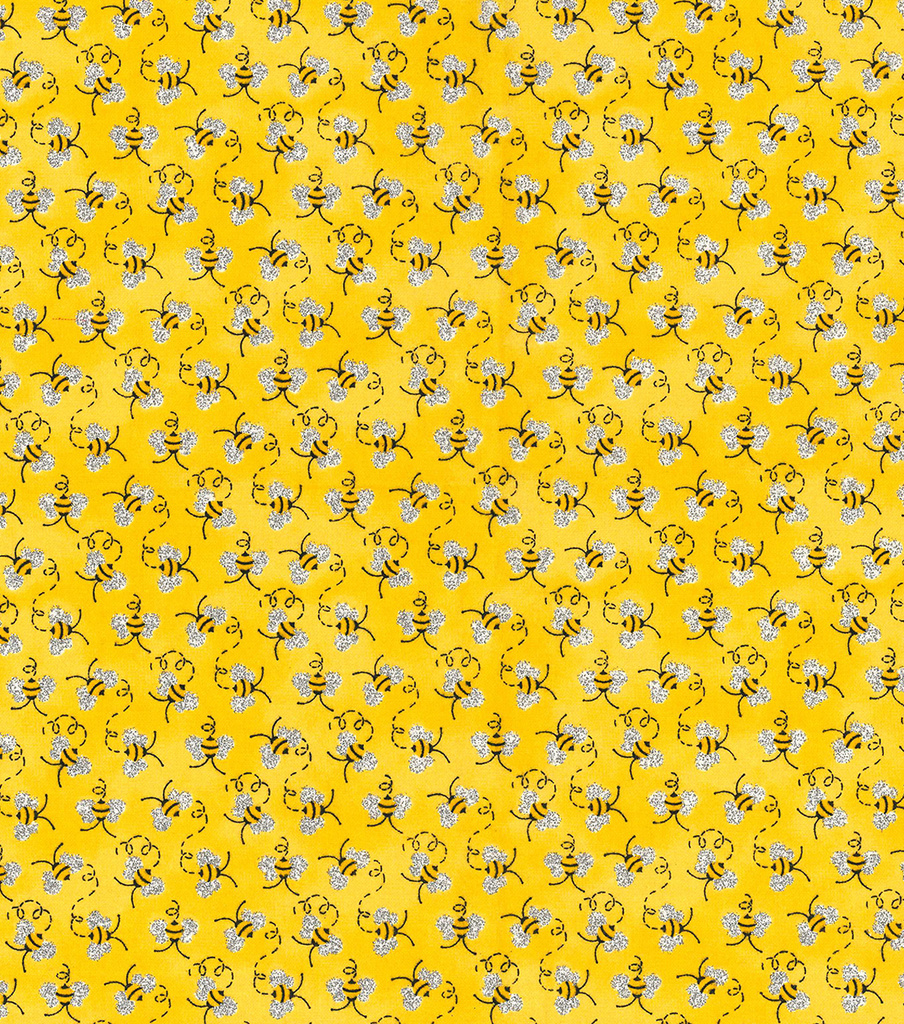 Novelty Cotton Fabric 44\u0022-Mini Bees With Glitter