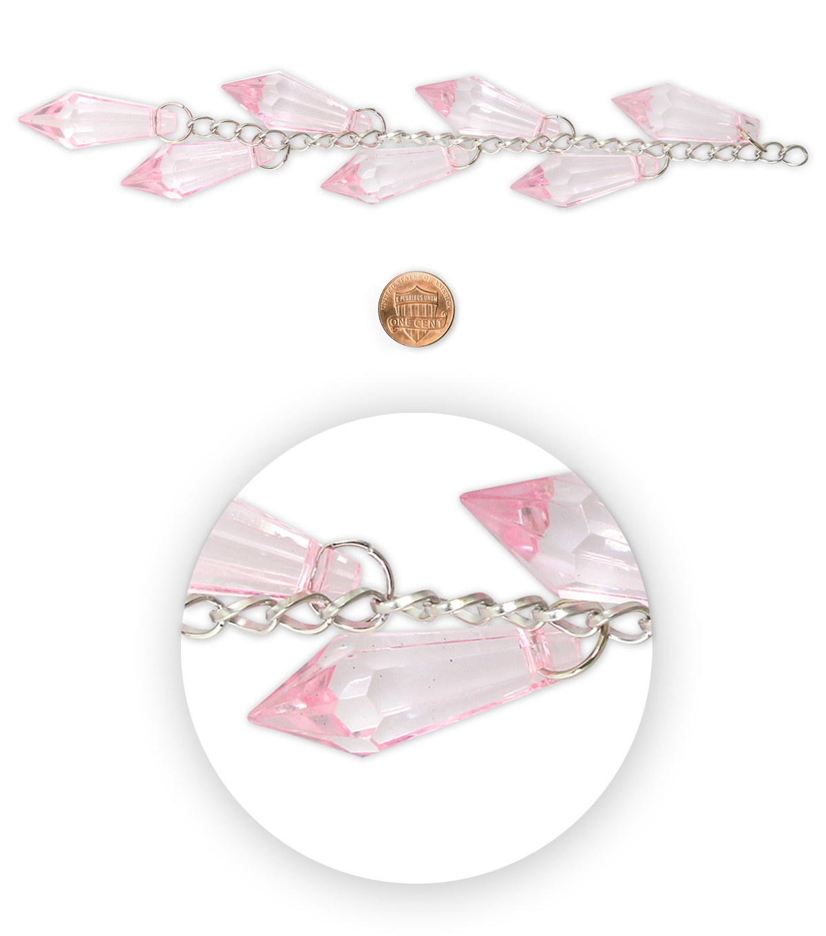 Blue Moon Bead Strands Acrylic Pointy Dangles Pink