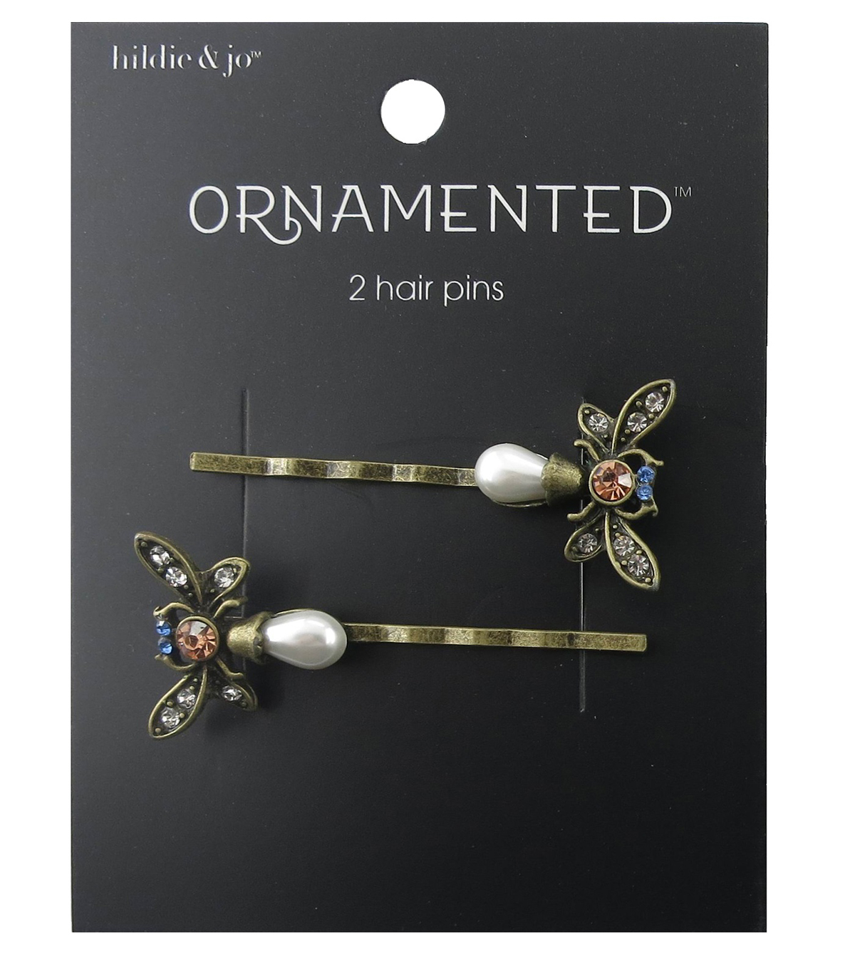 hildie & jo™ Ornamented 2 Pack Butterfly Antique Gold Hair Pins
