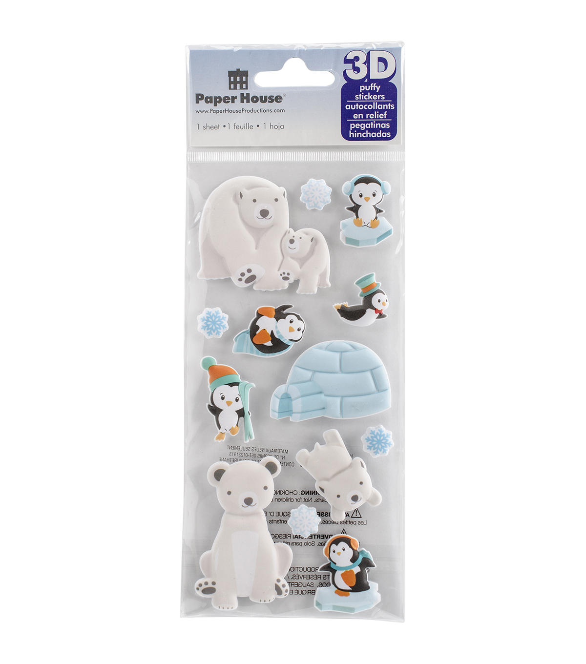 Paper House® Puffy Stickers-Polar Animals