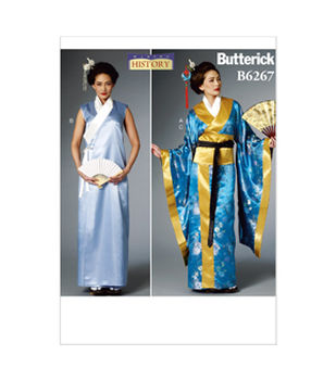 Butterick Pattern B6267-Misses\u0027 Costume-Kimono, Wrap Dress, Obi and Belt