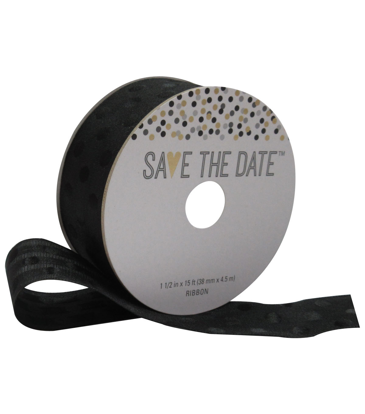 Save the Date 1.5\u0027\u0027 X 15\u0027 Ribbon Black Polka Dot on Black