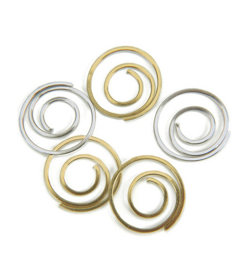 Metal Spiral Clips-25PK/Gold & Silver