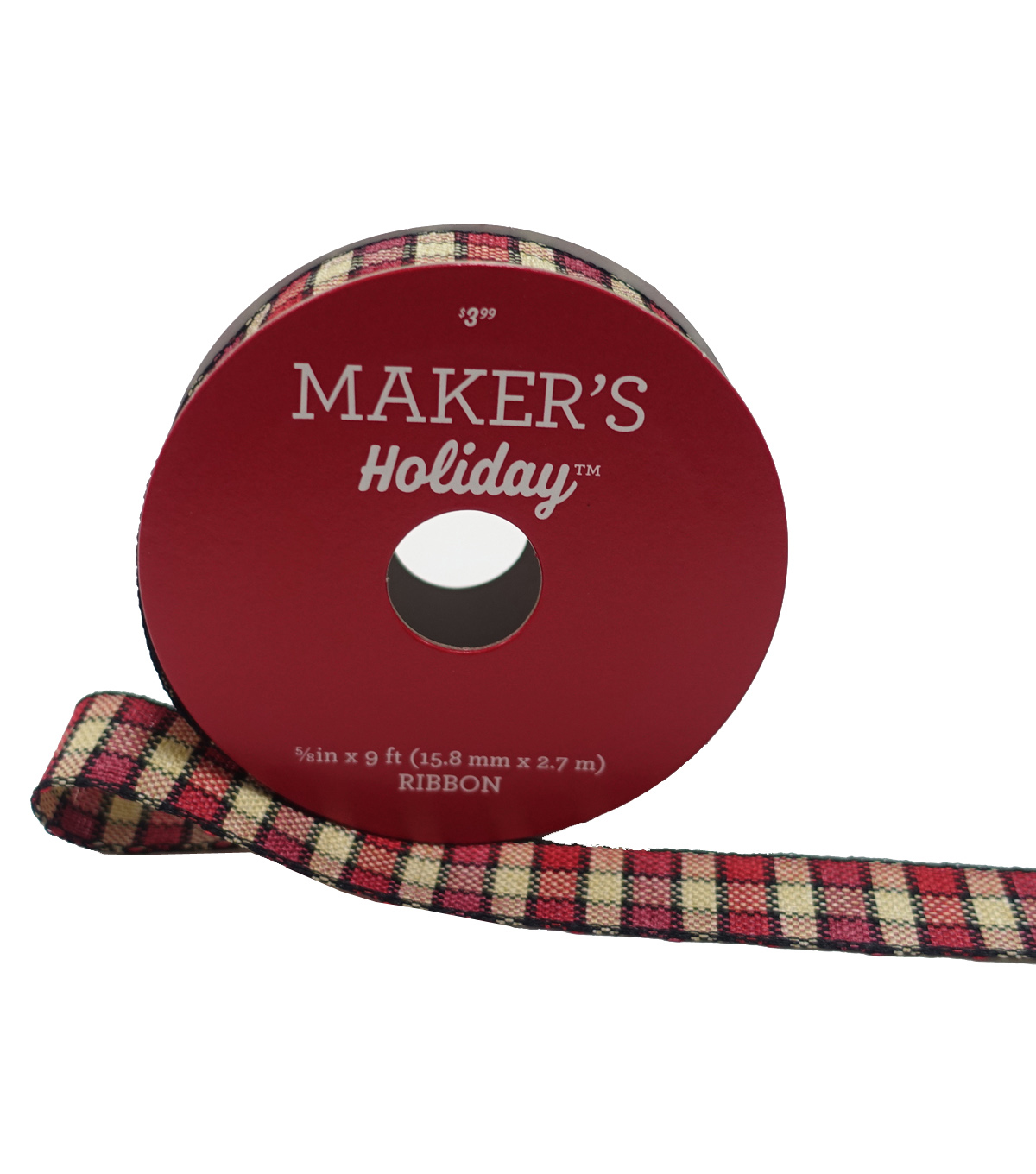 Maker\u0027s Holiday Christmas Ribbon 5/8\u0027\u0027X9\u0027-Red, Black & Beige Plaid