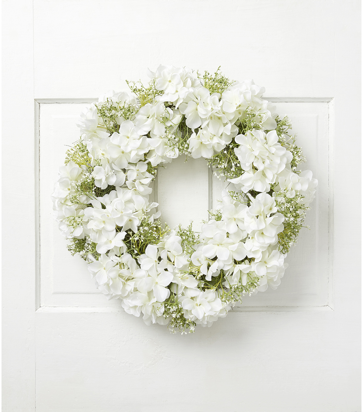 Fresh Picked Spring 21\u0027\u0027 Hydrangea & Baby\u0027s Breath Wreath