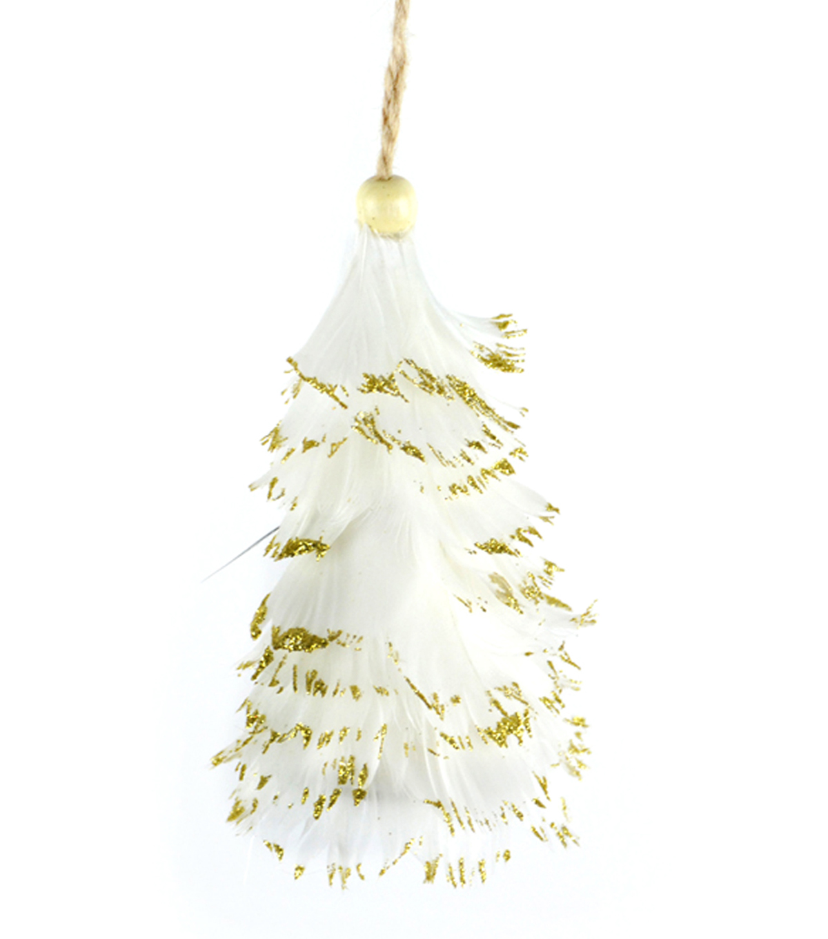 Maker\u0027s Holiday Christmas Feather Tree Ornament-White & Gold